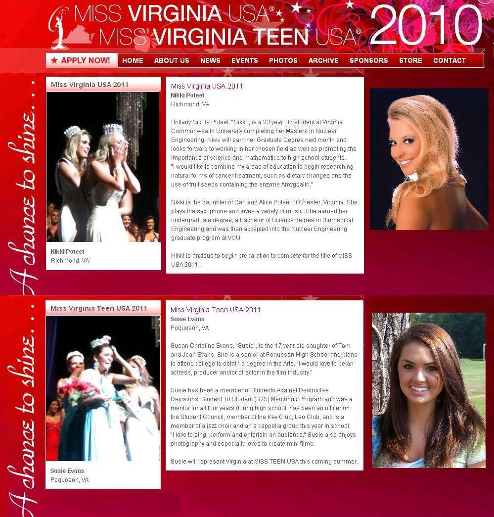 SUN BUNI BROWN Congratulates NIKKI POTEET, Miss Virginia USA 2011 and SUSIE  EVANS, Miss Virginia Teen USA 2011